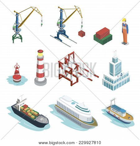 Sea Shipping Logistics Isometric 3d Elements. Commercial World Marine Delivery, Freight Transportati