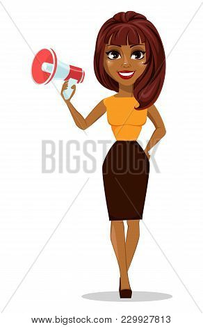 African American Business Woman Cartoon Character. Young Beautiful Smiling Businesswoman In Smart Ca