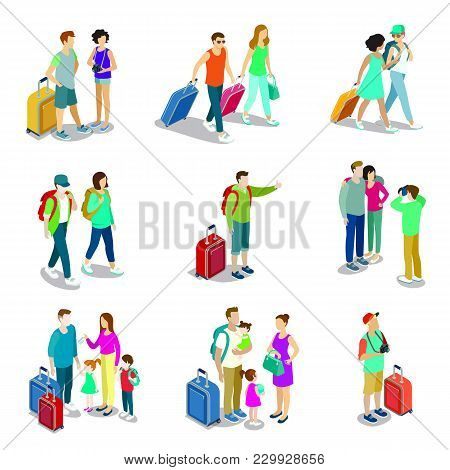 Travelling People Isometric 3d Icons. Family With Childrens And Baggage, Tourist With Travel Bag And