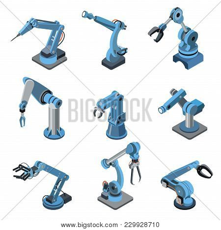 Industrial Robot Manipulator Isometric Set. Robotic Arm For Assembly Line Vector Illustration. Produ