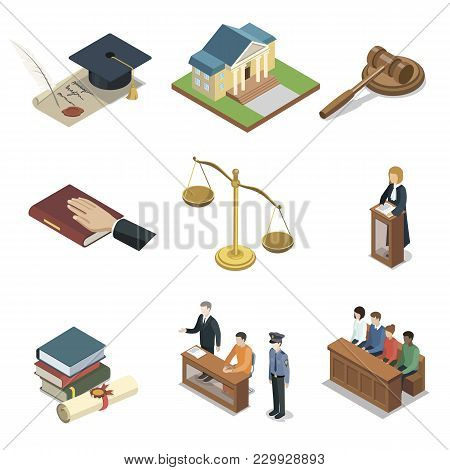 Public Justice Isometric 3d Elements. Scales Of Justice, Jury Trial, Oath Of Bible, Pronouncement Of