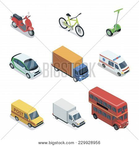 Modern City Transport Isometric 3d Elements. Public Bus, Ambulance Car, Freight Truck, Delivery Van,