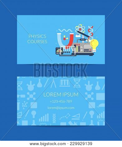 Vector Business Card For Science Lab Or Courses With Flat Style Science Icons Composition Illustrati
