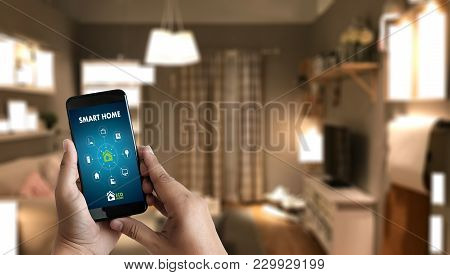 Internet Of Things   Iot  Remote Home Control To Modern Living Room System On Phone