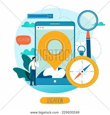 Mobile Navigation App, Destination Point Pin, Gps Navigation, Location Concept, Touristic Service, T