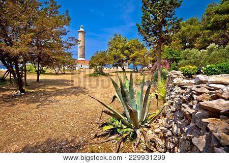 Veli Rat Lighthouse In Green Mediterranean Landscape, Dugi Otok Island, Dalmatia, Croatia