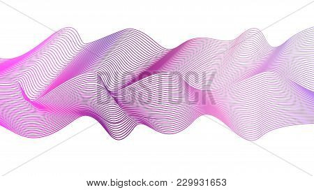 Abstract Wavy Striped Pattern On White Background. Vector Vibrant Purple, Magenta, Pink Wave. Line A
