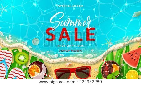 Summer Sale Promo Web Banner Template. Top View On Summer Decoration With Realistic Objects On Beach