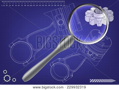 3d Model Of Piston On Blue Background. Drawing