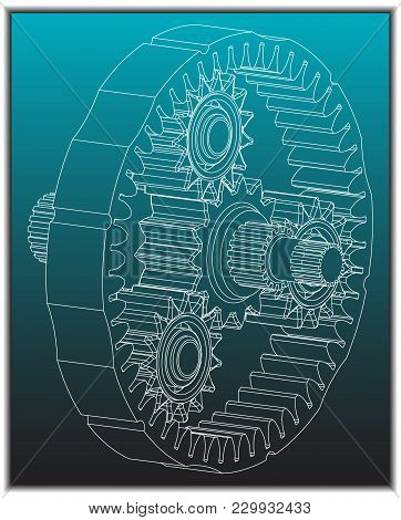 3d Model Of The Planetary Mechanism On A Turquoise Background. Gear