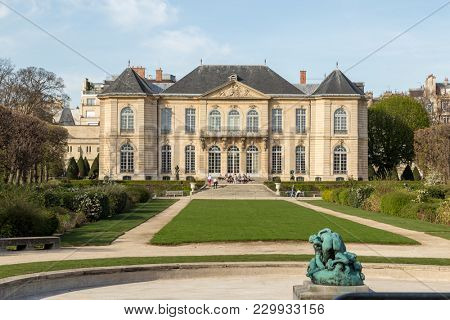 Paris, France - March 30, 2017: Rodin is a French sculptor. Rodin Museum in Paris,France. It displays works by the French sculptor Auguste Rodin