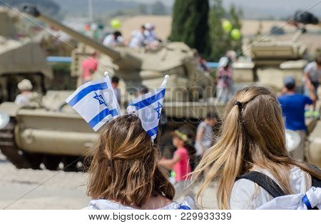 The Patriotic Girl With Israeli Flag On His Head Celebrate Israel Independence Day At Latrun Armored