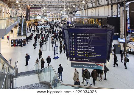 London, Uk: February 26, 2018: Waterloo Railway Station Is A Central London Terminus On The National