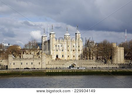 View Of The Tower Of London And Traitors Gate On The Banks Of The Thames River. The Gate Was Built B