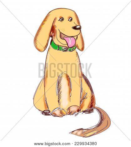 Big Yellow Dog With Long Ears In A Green Collar. Hand Drawn Labrador Retriever. Cute Cartoon Charact