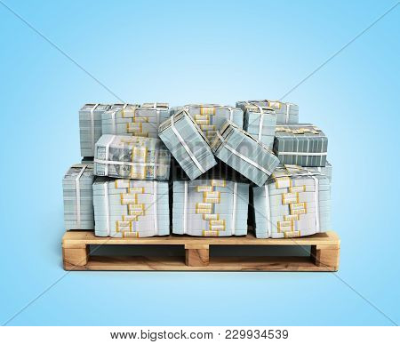 Stack Of Dollar Money Bills On Wooden Pallet 3d Render On Blue Background