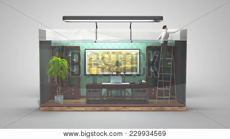 The Concept Of Limited Choice, Social Exclusion, Working Office In The Aquarium With A 3d Genereted