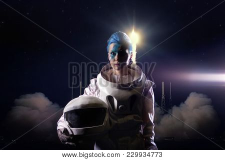 Astronaut On The Background Of The Rocket Launch. Elements Of This Image Furnished By Nasa.