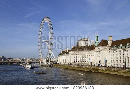 London, Uk: February 24, 2018: The London Eye Attracts Thousands Of Tourists Every Day. Located Next