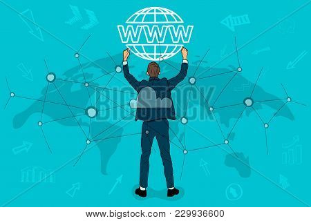 Businessman Holding A Website Icon. Concept Of The Cloud Through The Network. World Map