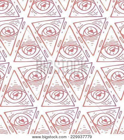 Trendy Fashion All Seeing Eye Seamless Pattern. Hand Drawn Eye Pyramidal Symbol. Alchemy, Religion,