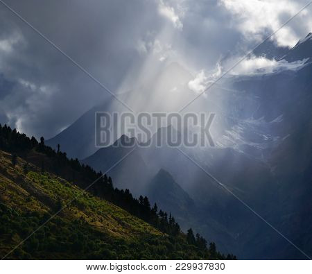 Beautiful Mountain Landscape With Cloud And Sunbeam