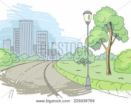 Street Road Graphic Color City Landscape Sketch Illustration Vector