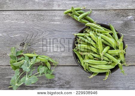 Green Peas In A Clay Plate On A Wooden Table. It Lies Next To Pea Pods.