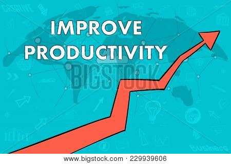 Improve Productivity Banner. Cloud Concept. Arrow Up.