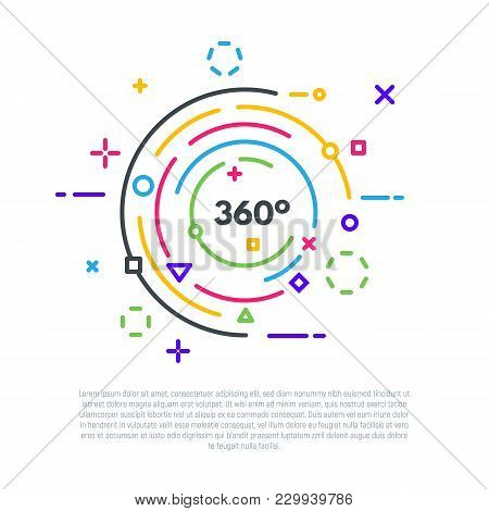 Linear Banner Concept. 360 Degrees Logo. Vr Or 360 Video Emblem. Flat Style Line Modern Vector Illus