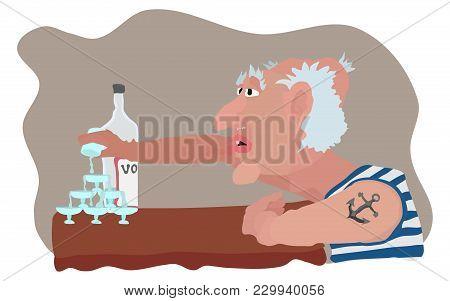 Chronic Alcoholic And Booze Cartoon Vector Illustration