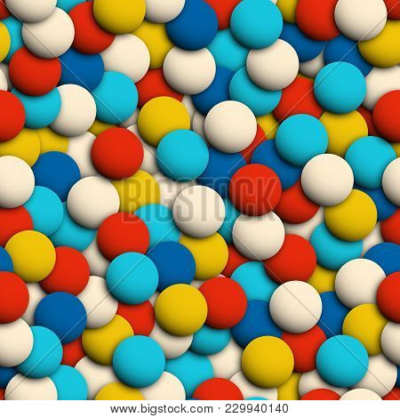 Abstract Colorful Spheres Seamless 3d Like Texture. Overlapping Circles Chaotic Or Ball Pit Seamless