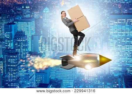 Woman flying rocket and delivering boxes