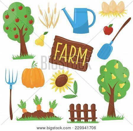 Collection Of Farm Elements: Fruit Trees, Watering Can, Chicken Eggs In Nest, Pitchfork, Shovel, Sun