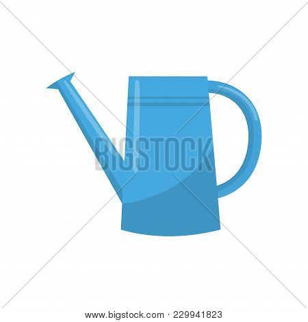 Blue Watering Can. Portable Water Container With Long Spout Used For Watering Plants. Graphic Design