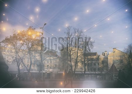 Mysterious Reflection Of The Square With The Yellow Lights Of The City Of Riga In The Window Glass I