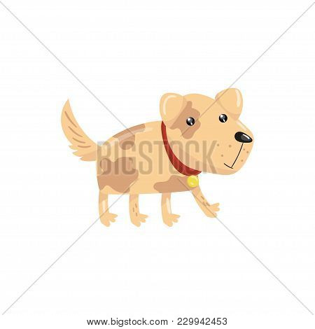 Little Dog With Spotted Body And Shiny Eyes. Puppy Character With Red Collar. Pet With Funny Muzzle.