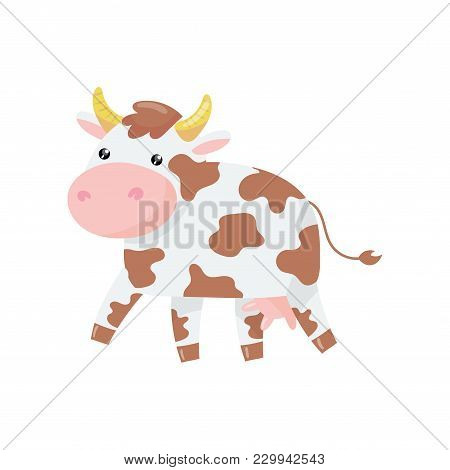 Cartoon Illustration Of Cow With Pink Nose And Brown Spots On Body. Dairy Cattle. Adorable Farm Anim