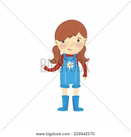 Young Gardener Girl Dressed In Blue Overall Shorts, Boots And Red Sweater. Cartoon Character Of Cute