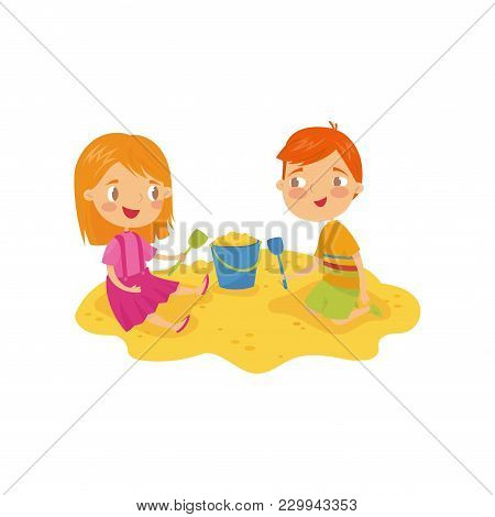 Two Little Kids, Boy And Girl Playing In Sandbox. Children S Daily Activity. Cartoon Characters Of B
