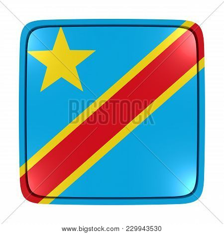 3d Rendering Of A Democratic Republic Of Congo Flag Icon. Isolated On White Background.