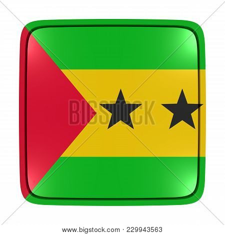 3d Rendering Of A Democratic Republic Of Sao Tome And Principe Flag Icon. Isolated On White Backgrou