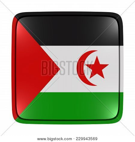 3d Rendering Of A Sahrawi Arab Democratic Republic Flag Icon. Isolated On White Background.