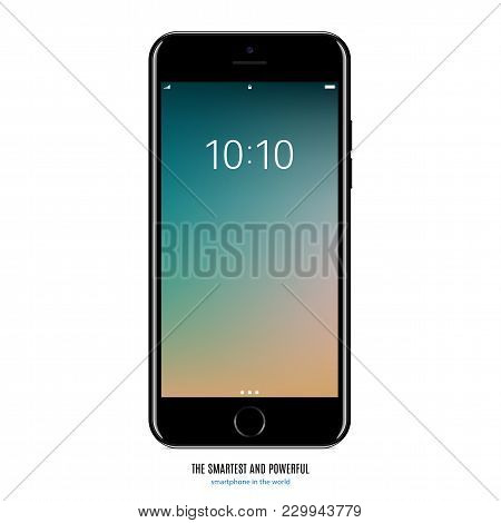 Smartphone In Black Color With Colored Screen On White Background. Stock Vector Illustration Eps10