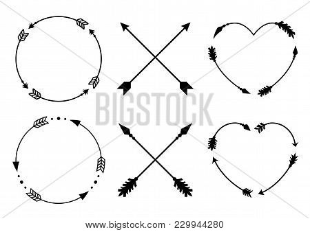 Circle And Heart Arrow Frames For Monograms. Criss Cross Hipster Arrows. Arrows In Boho Style. Triba