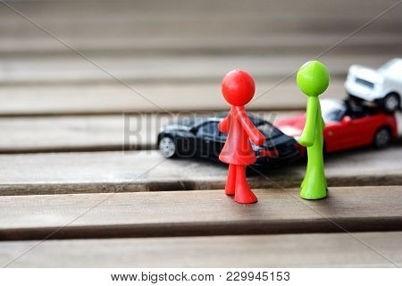 Car Accident Concept With Vehicles Model Toys And Human Shapes