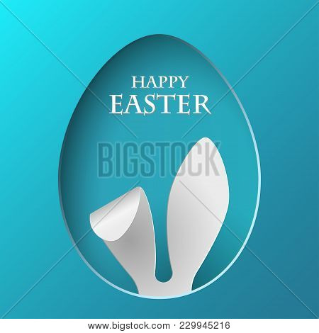 Vector Happy Easter Greeting Card With Color Paper Easter Ears On Blue Background. Vector