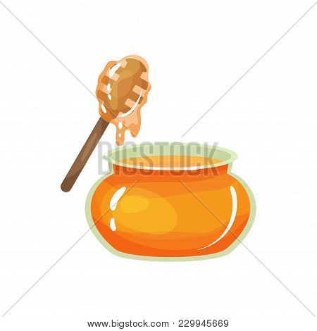 Cartoon Glass Jar Of Honey With Wooden Drizzler. Organic And Healthy Product From Apiary Farm. Sweet
