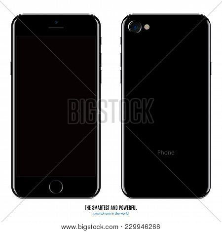 Smartphone In Black Color With Blank Screen And Back Side On White Background. Stock Vector Illustra