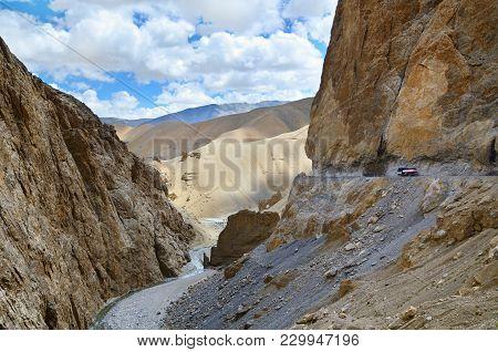 The High Altitude Manali-leh Road In Ladakh, Himachal Pradesh, India
